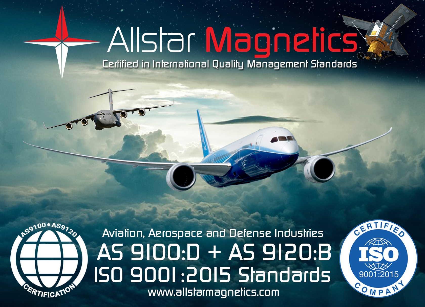 Allstar Magnetics is proud to announce that we are AS9100-D & AS9120-B certified